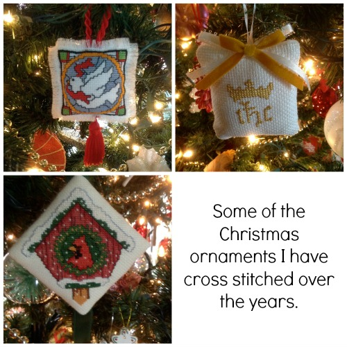 Cross stitched ornaments Collage