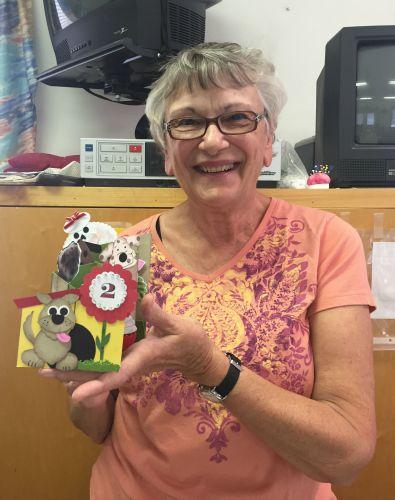Carol with dog card