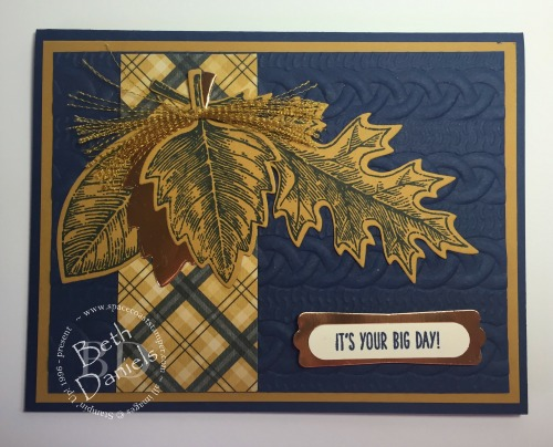 Navy & Dijon Vintage Leaves