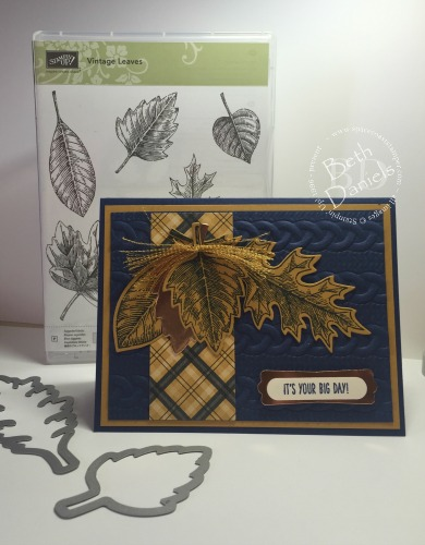 Navy Vintage Leaves